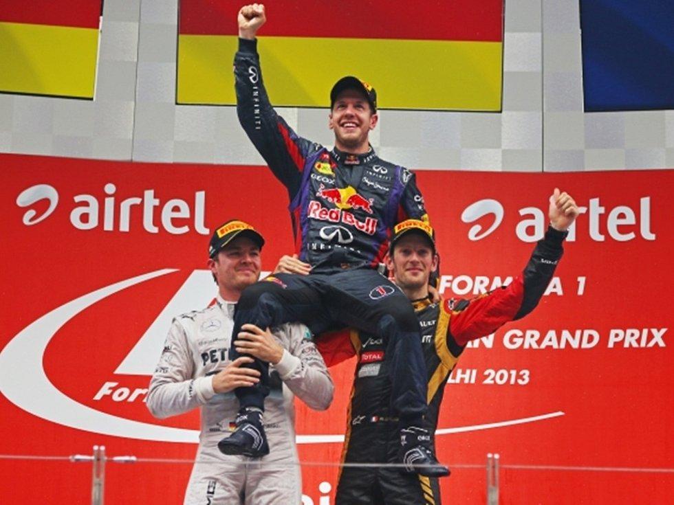 Zleva Nico Rosberg, Sebastian Vettel a Romain Grosjean.