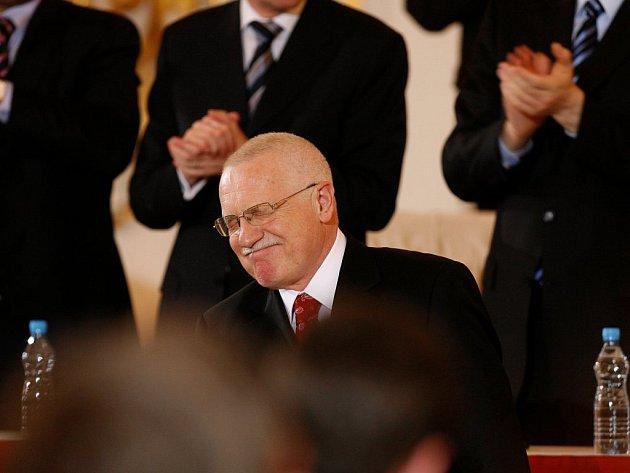 Prezident Václav Klaus po ohlášení výsledků, kdy se stal opět hlavou českého státu.