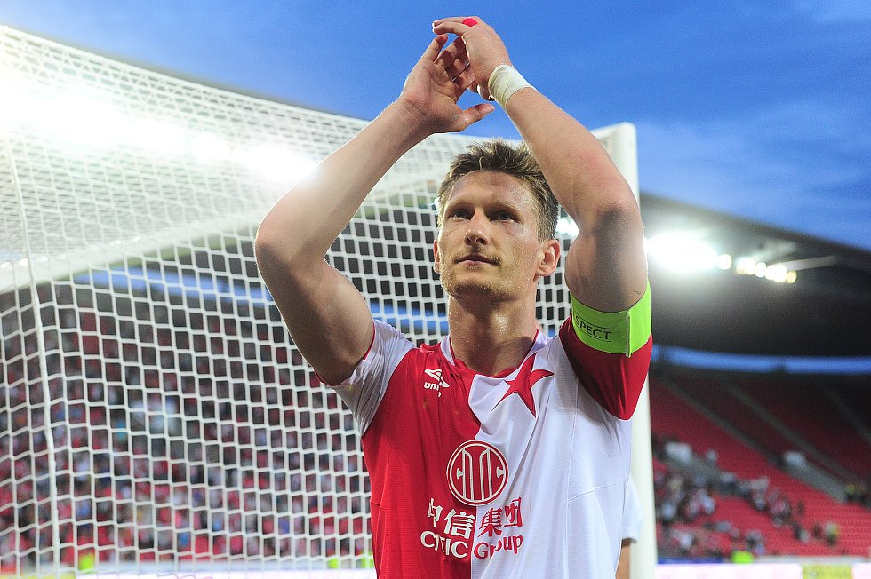 Fotbalové utkání Fortuna ligy mezi celky SK Slavia Praha  a MFK Karviná 28. července v Praze. Milan Škoda.