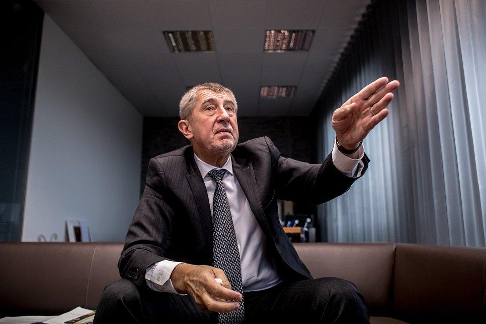 Předseda Hnutí ANO Andrej Babiš poskytl 10. října v Praze rozhovor Deníku.