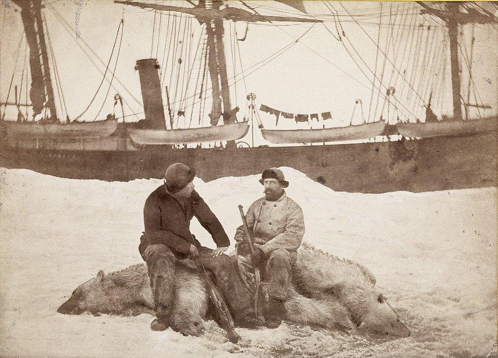 Starožitná dřevěná tuleňářská loď Viking v roce 1882, kdy ještě skutečně sloužila k lovu tuleňů. V popředí její tehdejší kapitán Axel Krefting (vpravo), sedící na právě zastřeleném ledním medvědu ve společnosti polárníka a vědce Fridtjofa Nansena