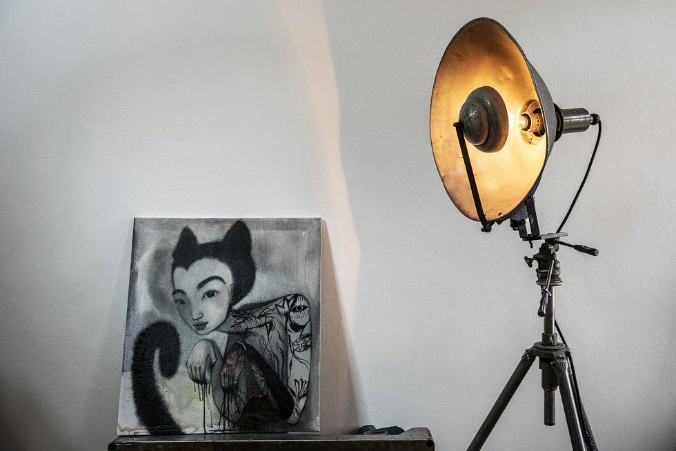 Obraz a lampa mají rovněž své místo.