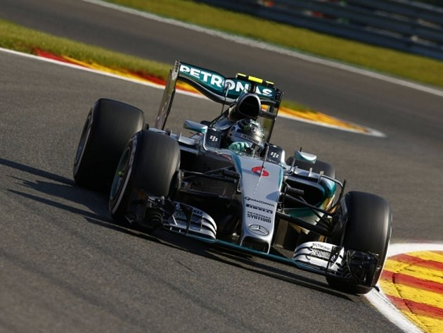 Nico Rosberg v tréninku na Velkou cenu Belgie.