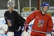 Brankář Alexander Salák (vlevo) a Roman Červenka na tréninku české reprezentace.
