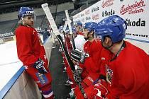 Poctivý trénink hokejové reprezentace před utkáním na Slovensku se vyplatil.