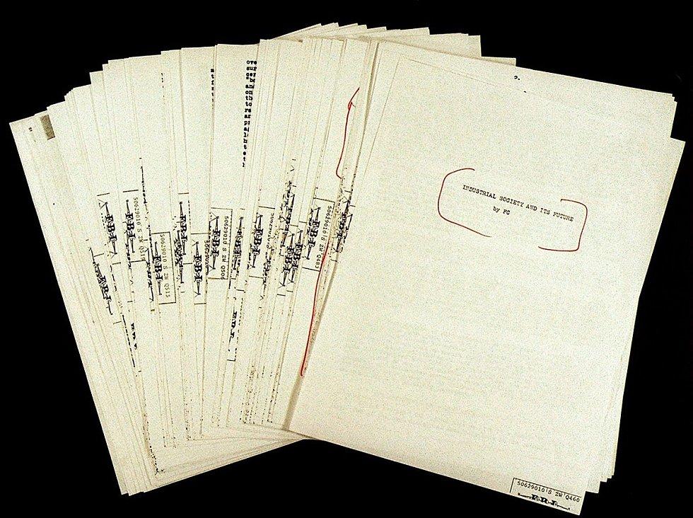 """Unabomberův """"manifest"""", v němž se vyznával ze svého negativního vztahu k """"průmyslové společnosti"""""""