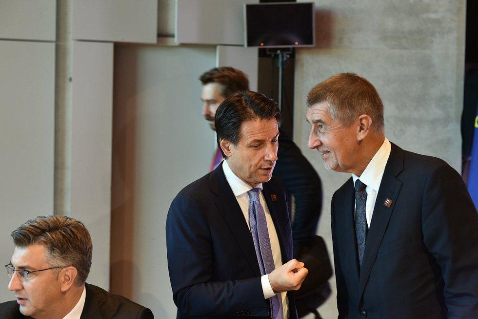 Andrej Babiš a Giuseppe Conte v Salcburku