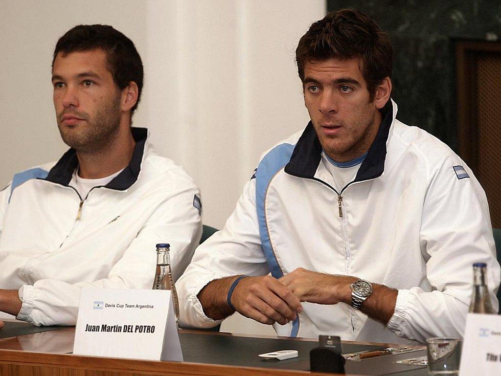 Los čtvrtfinále Davis Cupu Česko - Argentina v Ostravě: vpravo Juan Martin Del Potro.