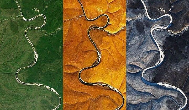 Pruhy na Sibiři během léta (zelená), podzimu (žlutá) a zimy (modrá).