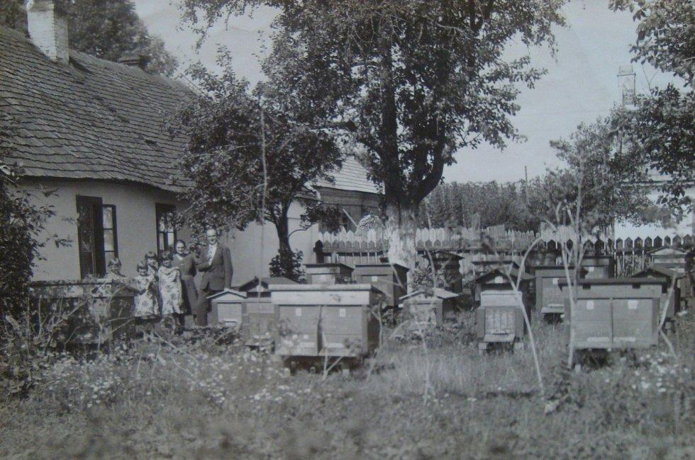 Vladimír Ficek a jeho včely v české obci Semiduby 1932