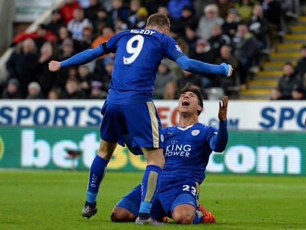 Fotbalisté Leicesteru se radují z gólu proti Newcastlu.