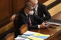 Zleva premiér Andrej Babiš a poslanec Jaroslav Faltýnek