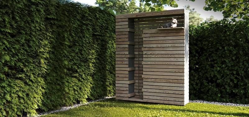 Chytrý plot s kočičím pelechem a provazem pro šplhání.