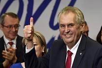 Prezident Miloš Zeman po tiskové konferenci v TOP Hotelu Praha, poté co byl 27. ledna 2018 oznámen výsledek druhého kola prezidentských voleb. Zeman byl zvolen i na další funkční období.