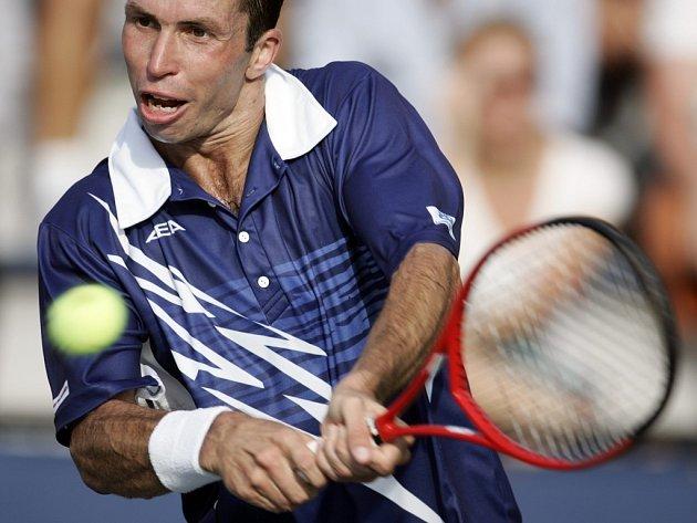 Radek Štěpánek během utkání 1. kola US Open proti Italu Staracemu.
