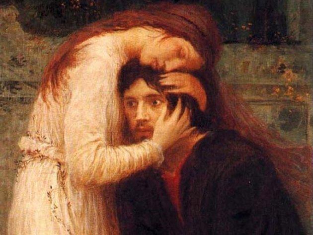 Výřez ze slavného Švabinského obrazu Splynutí duší