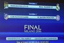 Real Madrid se v semifinále Ligy mistrů utká s Manchesterem City, Atlético s Bayernem Mnichov.