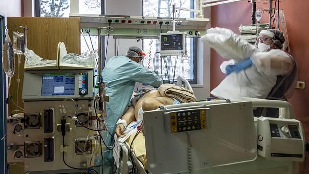 Zdravotníci ošetřují pacienta s nemocí covid-19 na infekčním oddělení Masarykovy nemocnice v Ústí nad Labem