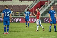 Česká reprezentace při zápase s Islandem