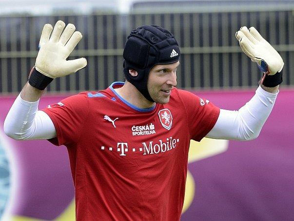 Petr Čech na tréninku fotbalové reprezentace.