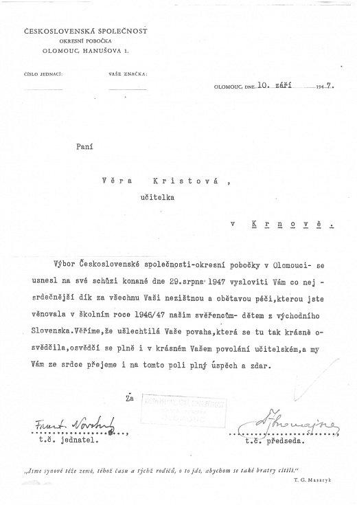 Poděkování Československé společnosti Veře Kristové
