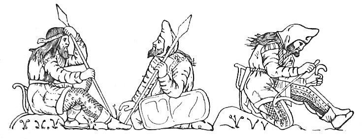 Skytští válečníci vymalovaní podle zobrazení na nádobě nalezené na pohřebišti nedaleko krymského přístavního města Kerč. Zobrazení zachycuje typické špičaté kapuce, kabátce s kožešinovým nebo plstěným lemováním a zdobené nohavice