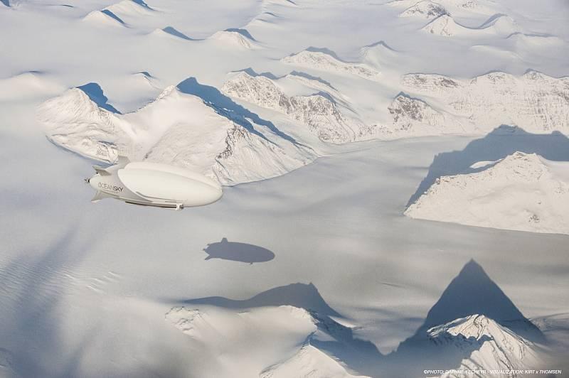Zatím jde jen o vizualizaci, už za pár let se ale podobný výjev má stát skutečností. Švédský startup plánuje pravidelné lety vzducholodí nad Severní pól.