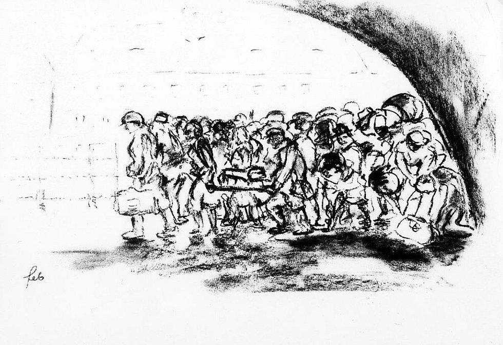 Židovský transport přijíždí do terezínského ghetta, kresba Ferdinanda Blocha