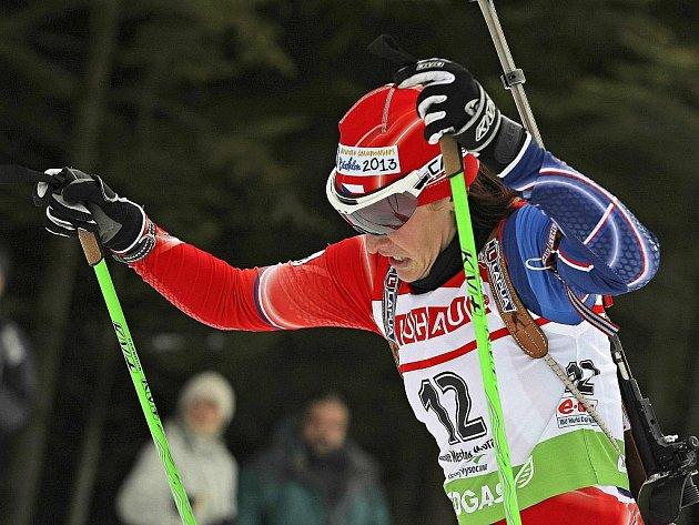 Biatlonistka Veronika Vítková v závodu SP v Novém Městě na Moravě.