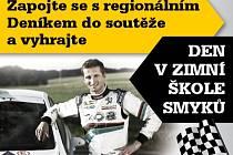 Zapojte se s regionálním Deníkem do soutěže a vyhrajte DEN V ZIMNÍ ŠKOLE SMYKů pod vedením profesionálního relly jezdce Jana Černého.