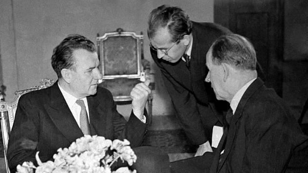 Klement Gottwald, Gustáv Husák a Antonín Zápotocký