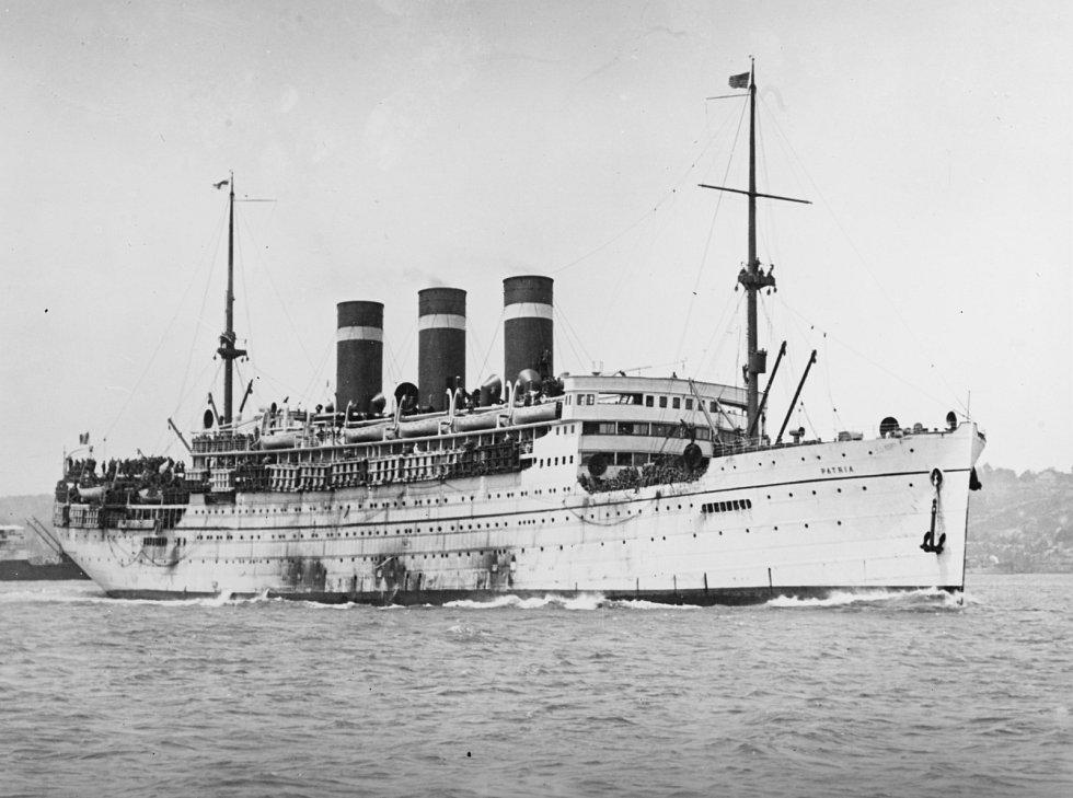 Loď Patria v roce 1918, kdy sloužila k transportu amerických vojáků z Evropy