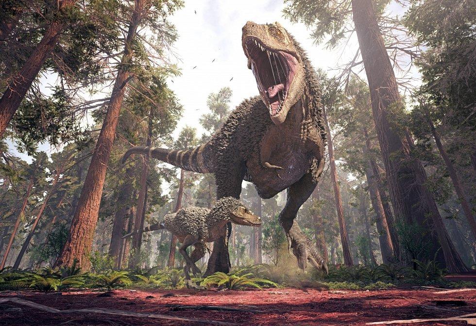 Ilustrace tyranosaura.