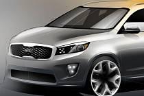 Skica nové generace SUV Kia Sorento.