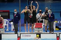 Radost plavecké štafety Austrálie.