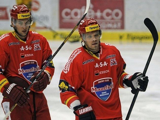 Posily Českých Budějovic z NHL Martin Hanzal (vlevo) a Milan Michálek.