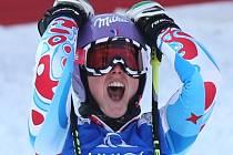 Tessa Worleyová se raduje z vítězství v obřím slalomu na MS.