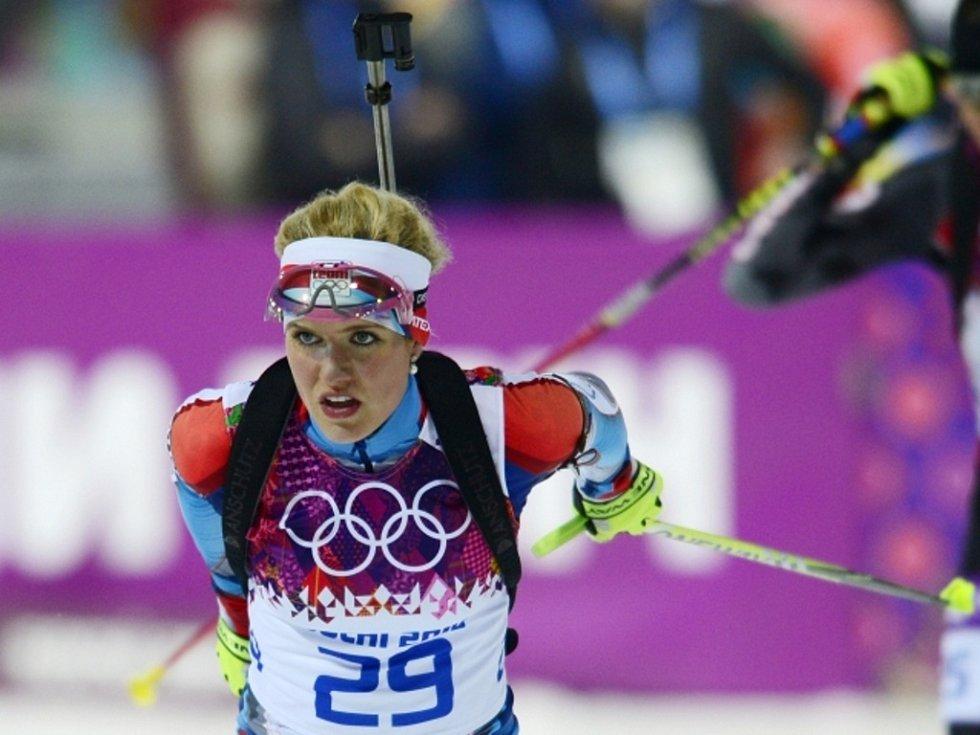 Biatlonistka Gabriela Soukalová předvedla ve stíhacím závodě v Soči fantastický výkon.