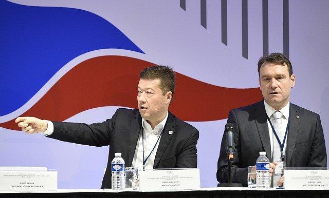 Předseda SPD Tomio Okamura, místopředseda Radim Fiala