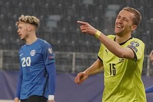 Tomáš Souček během zápasu proti Estonsku, v němž nastřílel hattrick.