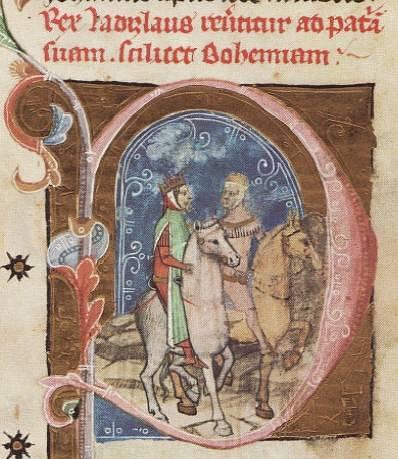 Miniatura Václava III. na cestě do Uher ve Vídeňské obrázkové kronice