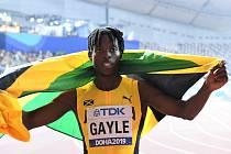 Vítěz skoku do dálky Jamajčan Tajay Gayle
