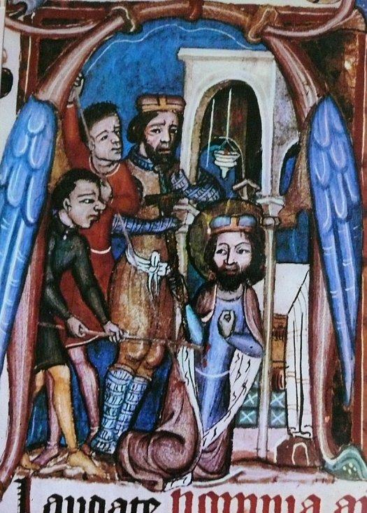Zavraždění Václava bratrem Boleslavem I. na jedné z mnoha maleb