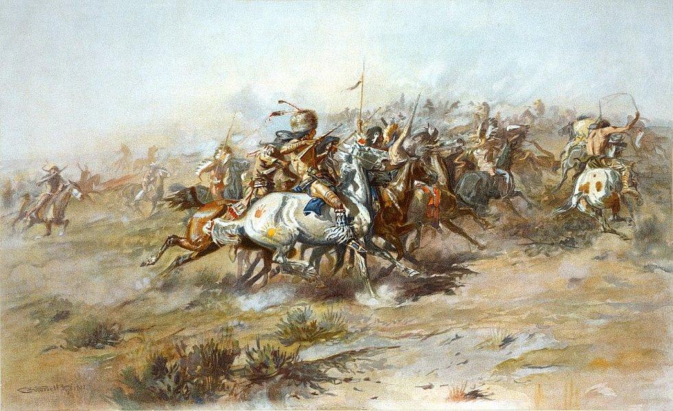Bitva u Little Big Hornu z indiánského pohledu na litografii od Charlese Mariona Russella