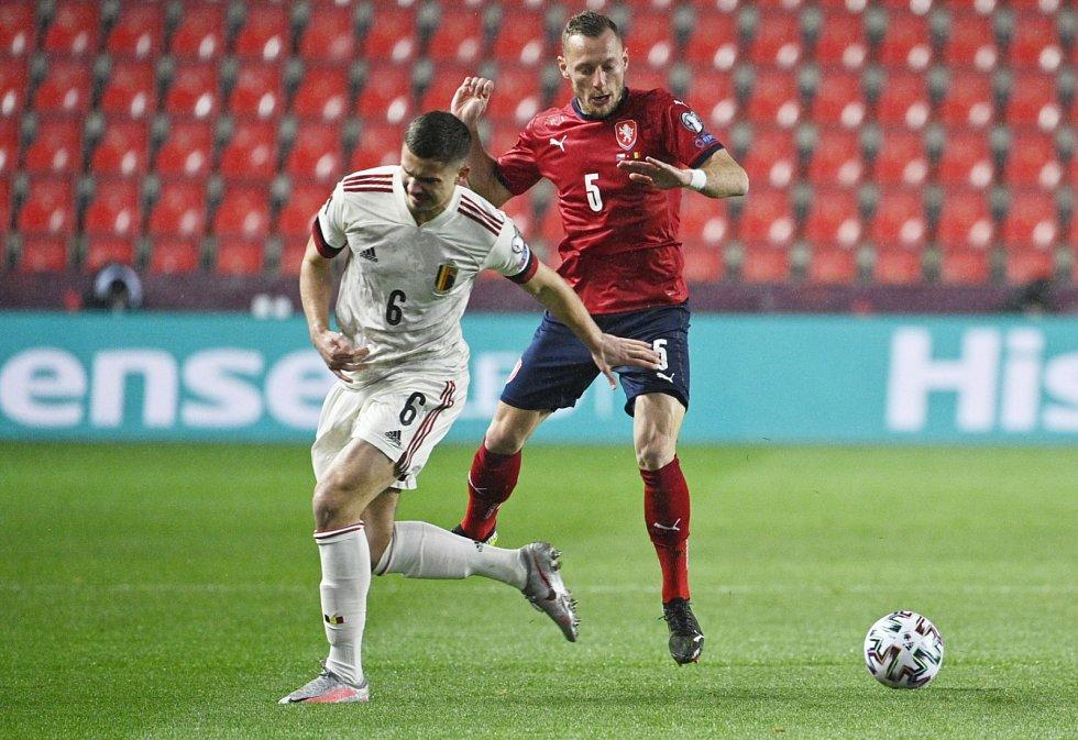 Utkání kvalifikace MS ve fotbale mezi Českem a Belgií