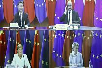 Čínský prezident Si Ťin-pching (nahoře vlevo), předseda Evropské rady Charles Michel (vpravo nahoře), německá kancléřka Angela Merkelová (vlevo dole) a předsedkyně Evropské komise Ursula von der Leyenová na videokonferenci 14. září 2020