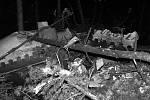Trosky jugoslávského dopravního letadla DC-9, které havarovalo 27.ledna 1972 na pravidelné lince z Kodaně do Záhřebu u Srbské Kamenice v oblasti České Kamenice.