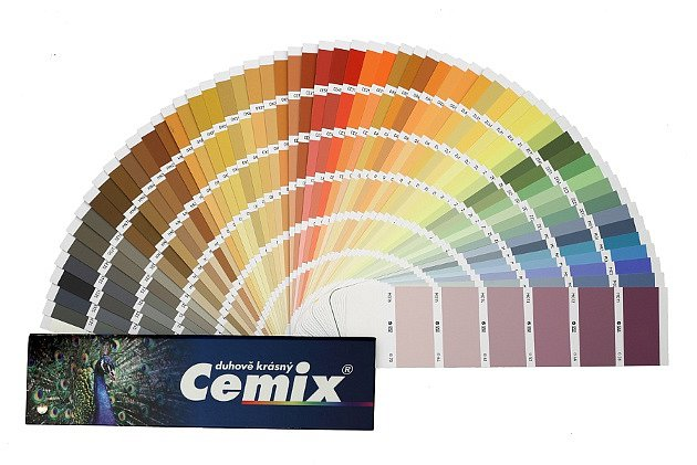 Omítka Activcem je dodávána vširoké nabídce odstínů podle vzorníku Cemix Duhově krásný