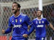 Claudio Marchisio z Juventusu se raduje z gólu proti Seville.