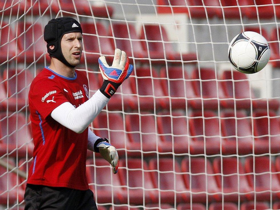 Brankář Petr Čech na tréninku české reprezentace.